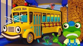 School Bus Car Wash DISASTER | Gecko's Garage | Bus Videos For Kids