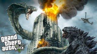 Огромный инопланетный монстр напал на Лос-Сантос! Змей против Годзиллы реальная жизнь в гта 5 gta 5