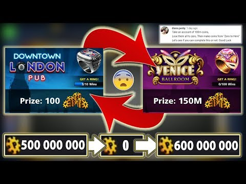 Playing From LONDON To VENICE - 500M To ZERO To 600M Coins - 8 Ball Pool - Zero To Hero Challenge