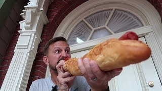 4 Feet Of Theme Park Hotdog Challenge! Disney vs Universal!
