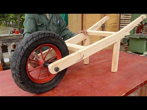 Woodworking Project Combined With Old Moto Wheel // How To Make The Easiest wheelbarrow - DIY