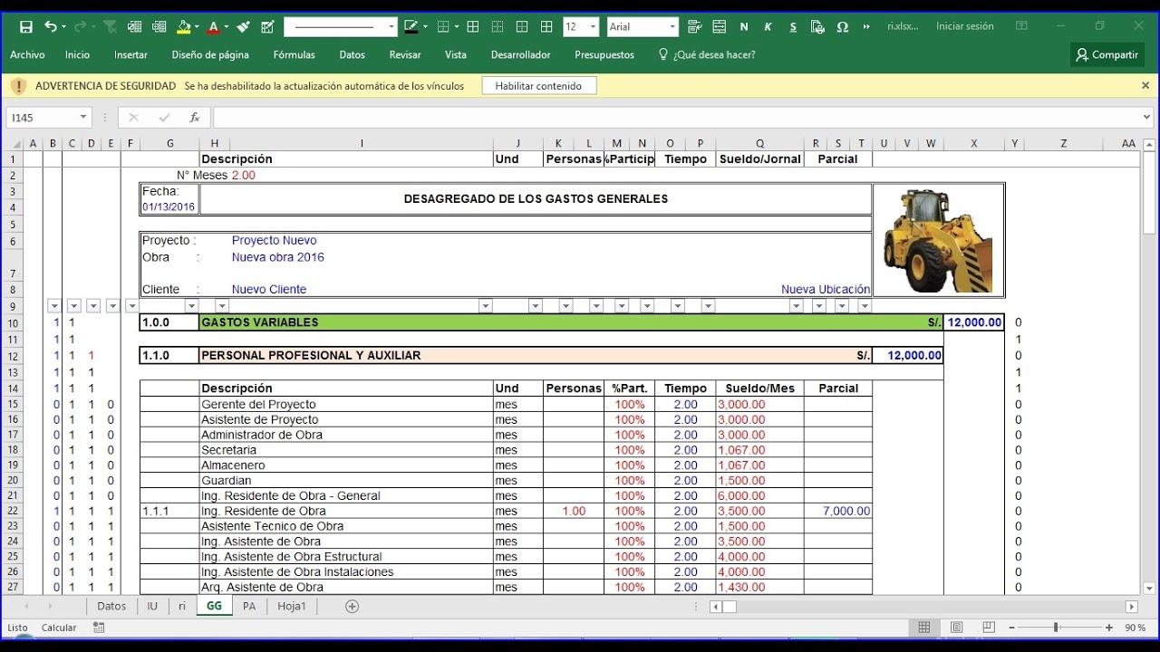 costos indirectos como hacer un presupuesto de obra
