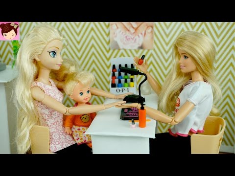 Thumbnail: Elsa and Anna Toddlers Paint Their nails at the Barbie Salon - DIY Doll Manicure Story