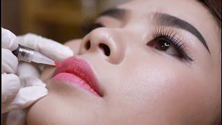 Cận cảnh quá trình phun môi.