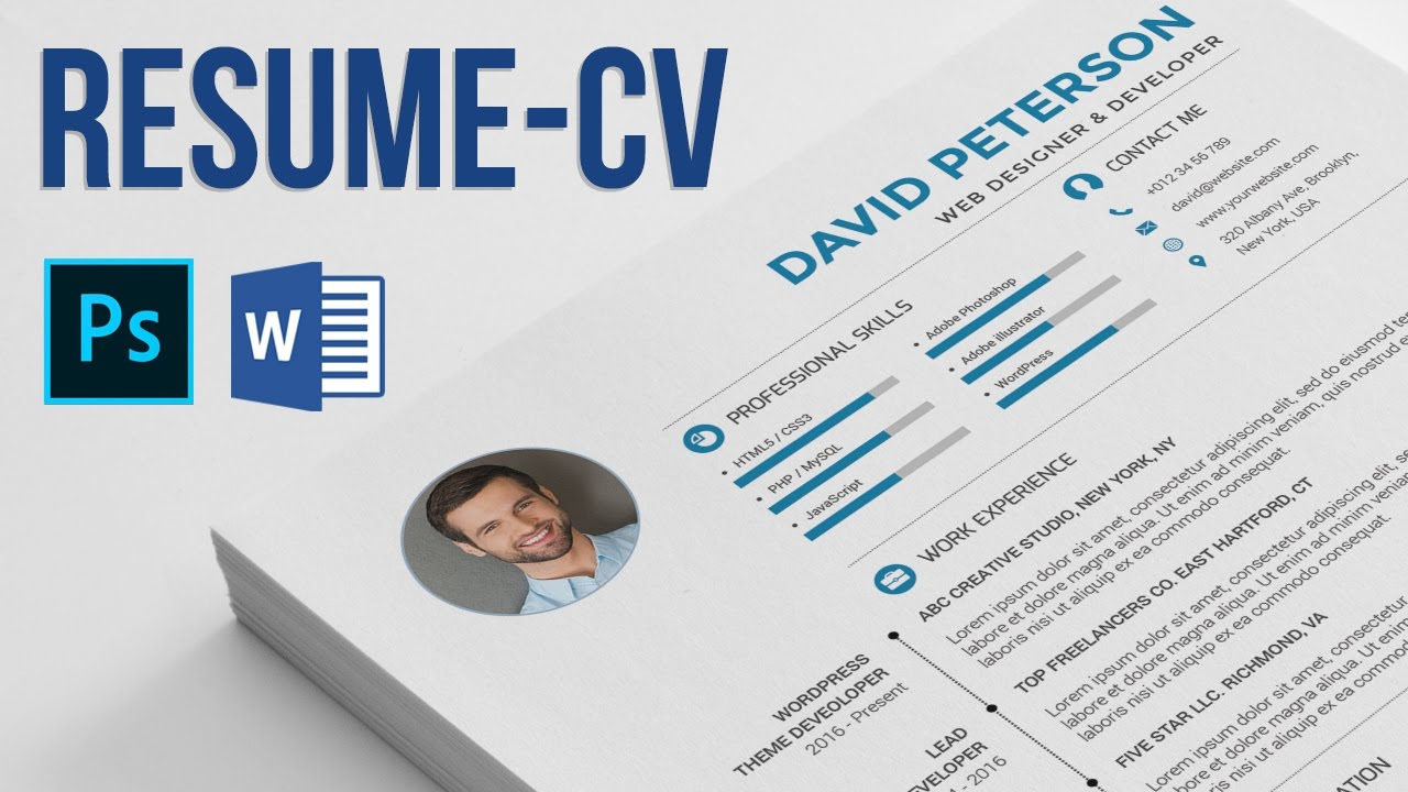 resume    cv how to edit and use  - photoshop and microsoft word