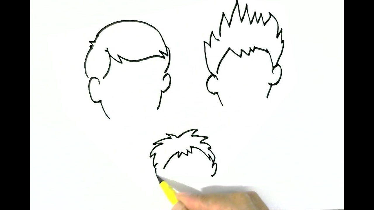 How To Draw Boys Hairstyles 2 Easy Steps For Children Kids Beginners