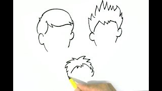 How to draw  Boys Hairstyles 2 easy steps for children, kids, beginners