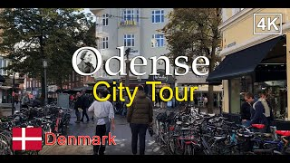 ⁴ᴷ⁶⁰ Odense City Center tour: Kongensgade and Mageløs Streets | Walking in Odense, Denmark 2020