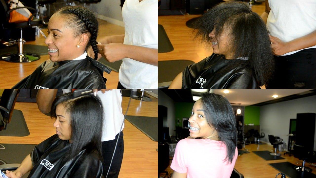 Silk Press and Length Check on Natural Hair at Splash 205 Salon  YouTube