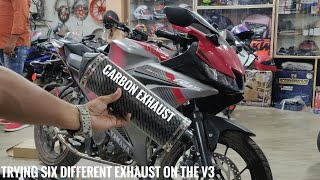 Trying 6 Different Exhausts on the R15 V3 | RACEFIT | Bubble Visor
