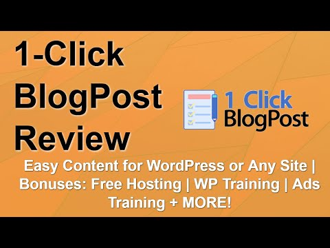 1 Click BlogPost Review | Amazing Bonuses | Fast Content Creation ⏩ thumbnail