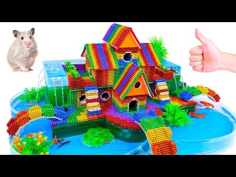 DIY - Build Fish Pond Around Puppy House Hamster With Magnetic Balls (Satisfying) - Magnet Balls