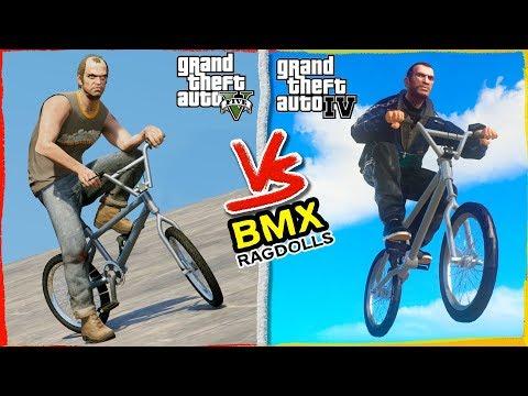 GTA 5 vs GTA 4 Physics | BMX Ragdoll Comparisson | Crashes &Fails (Euphoria physics | Funny Moments)