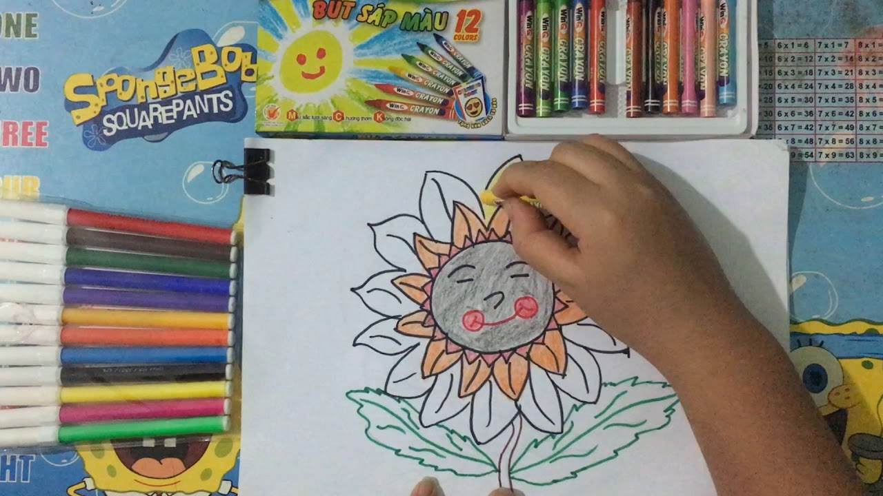 Tô màu tranh hoa hướng dương-  Coloring sunflowers