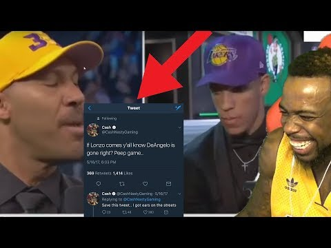 I 100% Predicted Lonzo Going To The Lakers In Draft w/ D'Angelo Getting Traded! Lavar Is The Goat!