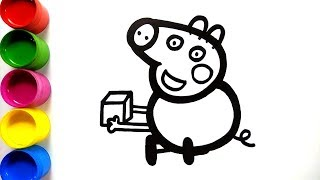 Peppa Pig Drawing & Painting Coloring Book For Kids | Peppa Pig coloring page | Colorsfun