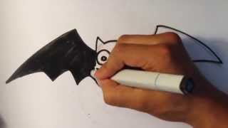 How to Draw a Cute Bat - Halloween Drawings
