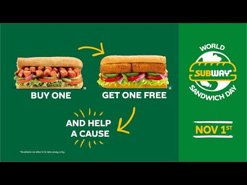 World Sandwich Day 2019| Buy One, Get One Free| Subway India