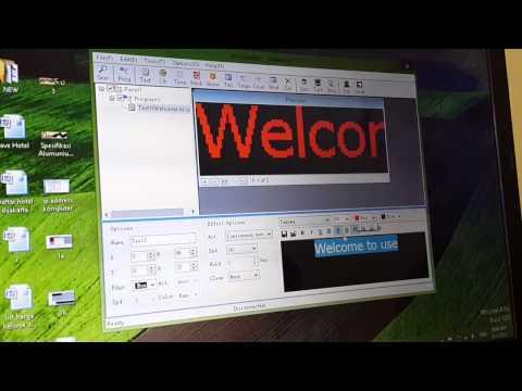 Cara setting led running text moving sign