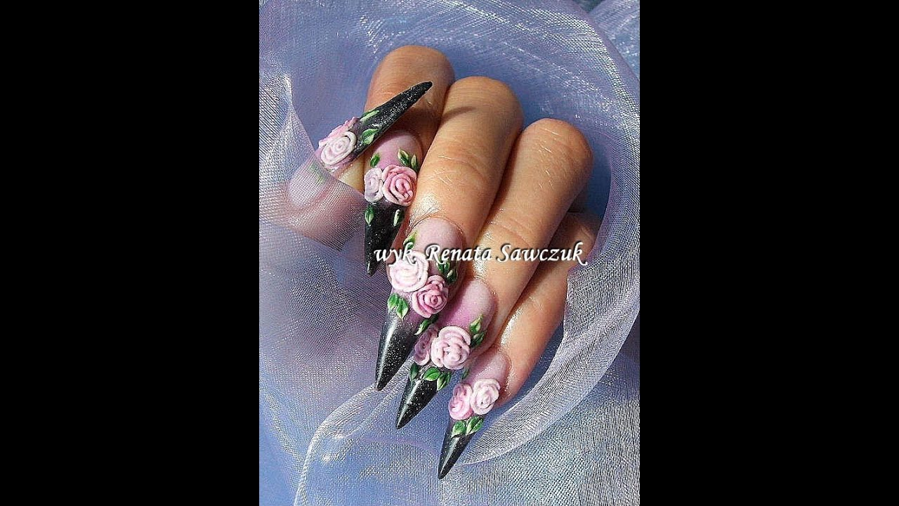 Step By Step Tutorial Decorating Nailart Russian Style Acrylic Roses