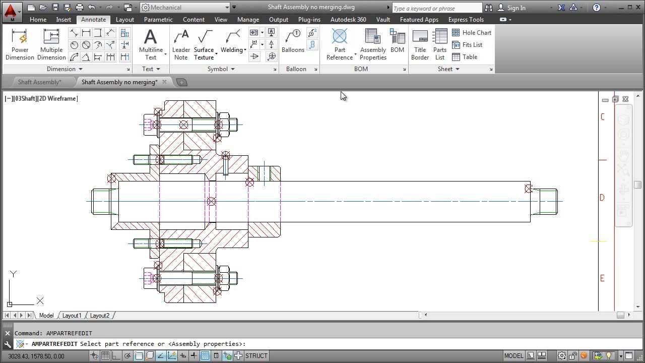 autocad mechanical 2014 parts list [ 1280 x 720 Pixel ]