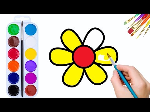 🌺 Flower Coloring Pages for Kids, Painting and Drawing for Baby #4