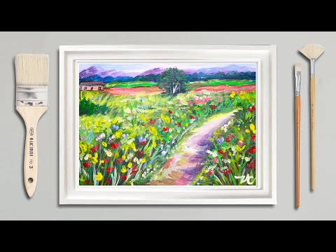 Acrylic Painting | How To Paint Flowers Landscape | Easy Painting Tutorial