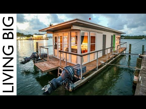 Life On The Water In A Tiny House Boat - YouTube