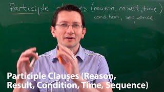 Типы причастных оборотов (reason, result, condition, time, sequence) в английском языке