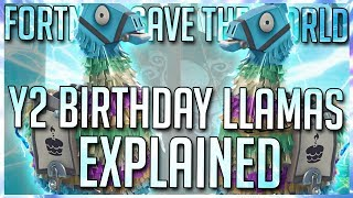 YEAR 2 BIRTHDAY LLAMAS: EVERYTHING YOU NEED TO KNOW! [FORTNITE STW BEGINNER TIPS]