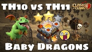 TH10 VS TH11 - 2 STARS WITH BABY DRAGONS ON MAX TH11 BASE [ Road to 5000 Trophies ] | Clash of Clans
