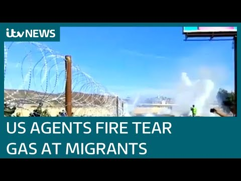 Peaceful march turn into chaos at US/Mexico border | ITV News