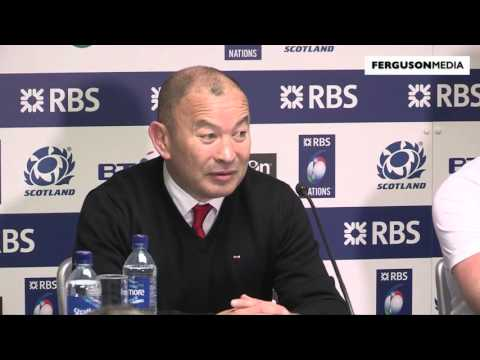 England coach Eddie Jones and captain Dylan Hartley press conference after Calcutta Cup 2016
