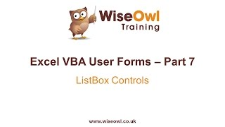 excel VBA Forms Part 7 - ListBox Controls