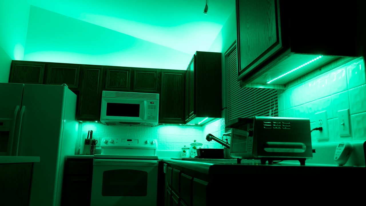 How to Install Above-Cabinet and Under-Cabinet LED Lighting Using  Color-Changing Strips
