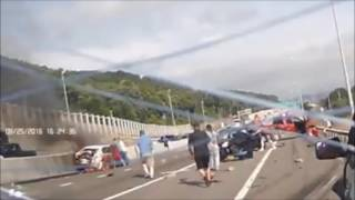Woman recued from burning car after 10-car crash in Binghamton