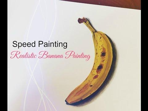 Realistic Banana Painting Acrylic Painting Time Lapse