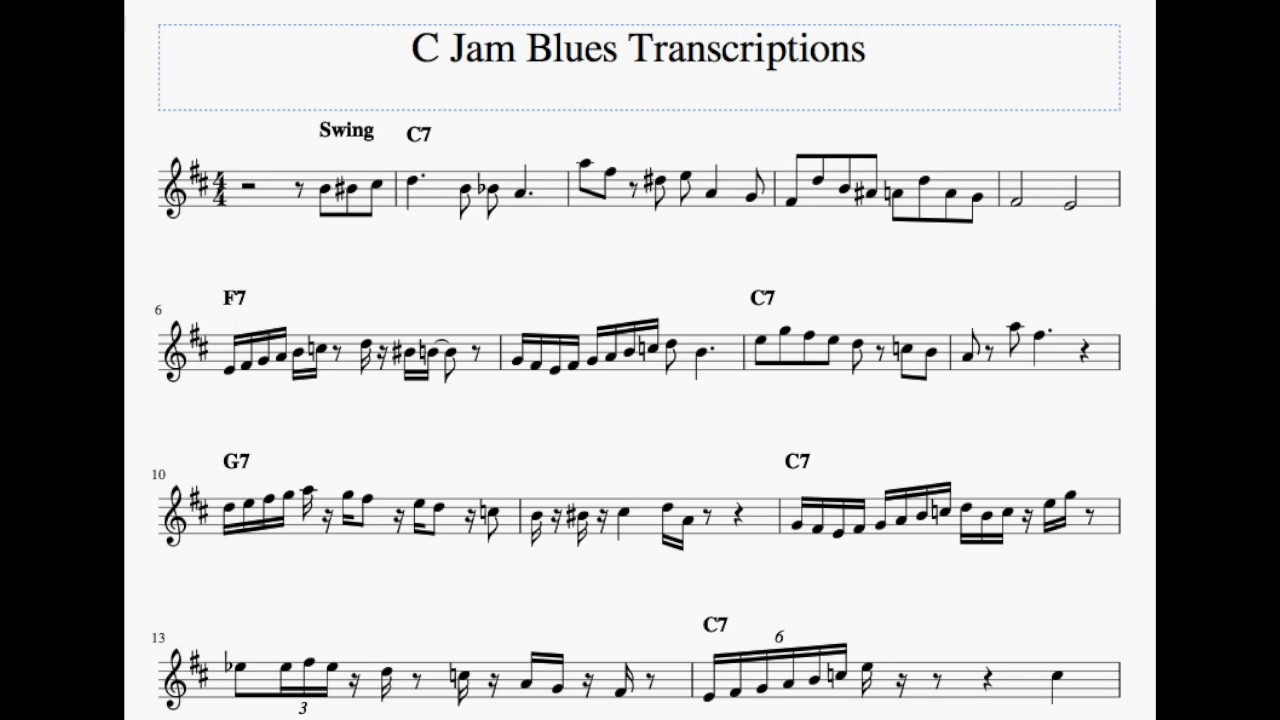 C Jam Blues - Solo Transcription