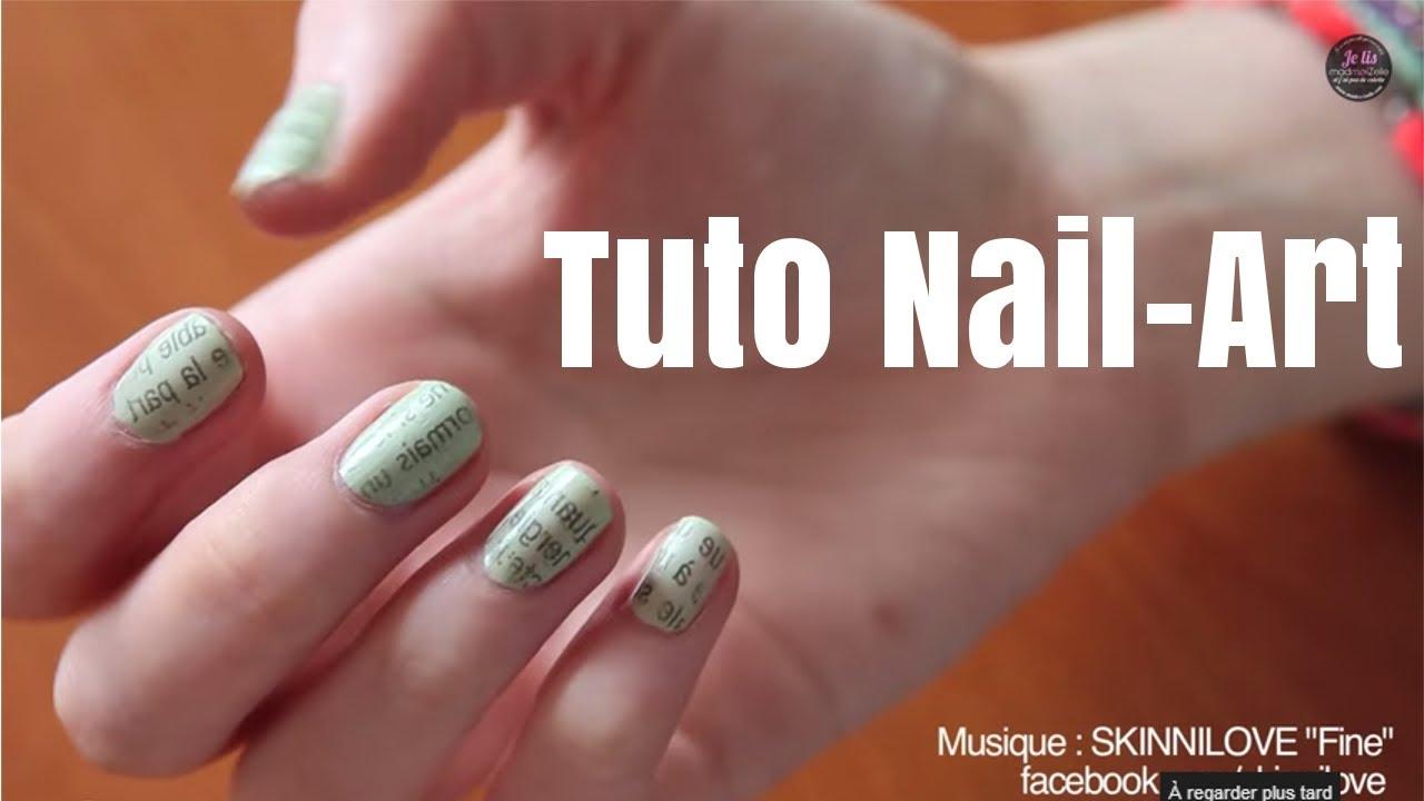 Tuto nail-art : la manucure papier journal - YouTube