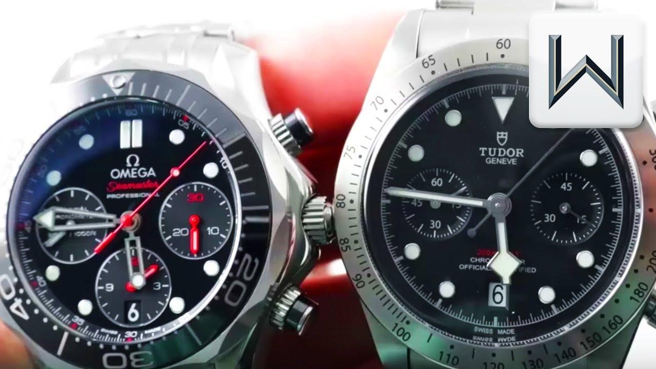 Omega Seamaster vs Tudor Black Bay Chronograph 79350; Seamaster Diver Chronograph 212.30.42.50.01.00 - YouTube