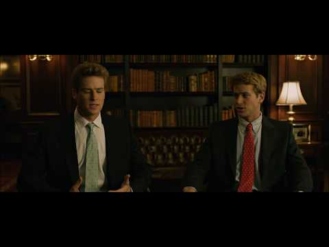 Larry Summers and the Winklevoss twins Scene from The Social Network poster