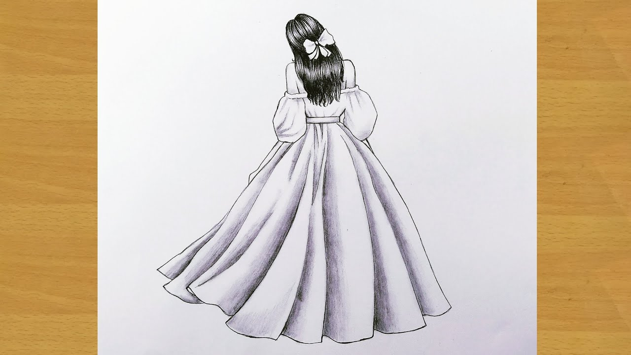 easy back side drawing of a girl || how to draw a girl with beautiful dress ||Gali Gali Art ||