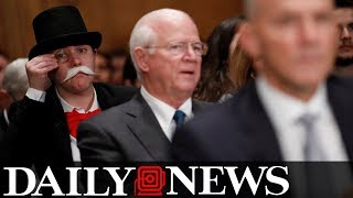 Monopoly man pops up behind former Equifax CEO at Senate hearing