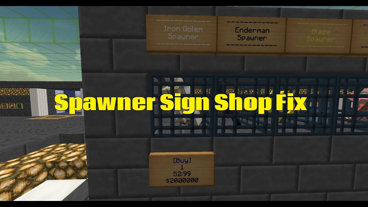 Essentials Spawner Sign Shop fix
