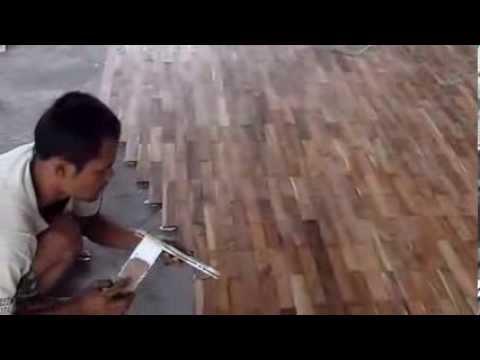 Pemasangan Lantai Kayu Parket / Parquet Jati Solid di GOR - Kabupaten Penajam Paser Utara (Kal-Tim)