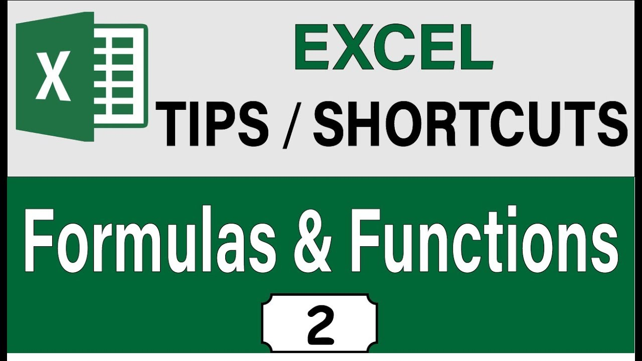 Advanced Excel 20 Formula & Functions Tips and Shortcuts, Excel 20  Intermediate Skills
