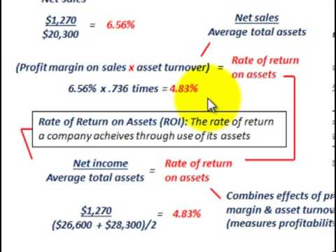 Asset Turnover Ratio, Profit Margin On Sales Ratio, Rate Of Return On Assets (ROI)