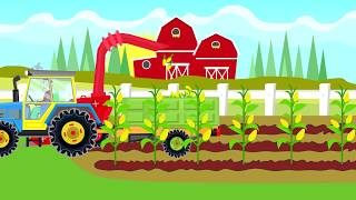 A Colorful Tractor cuts corn on Popcorn - Video for  Kids & Babies | Animacje Traktory