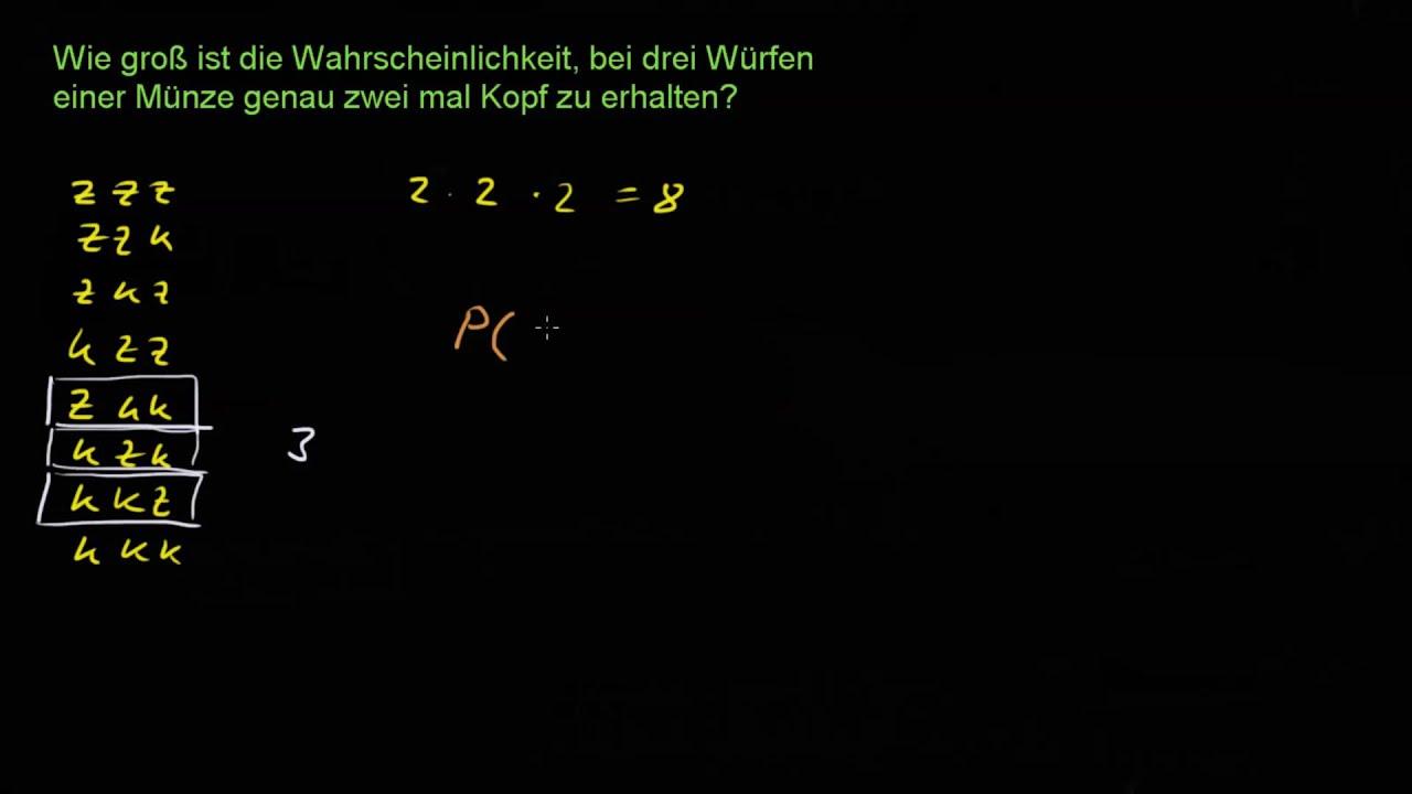 Beispiele Zur Kombinatorik 1 3 Würfe Einer Münze Youtube