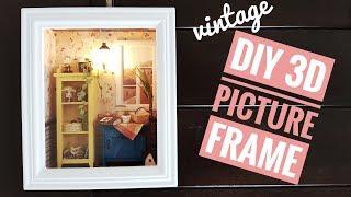 """DIY Miniature Vintage 3D Picture Frame """"Warm Dawn"""""""